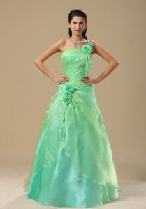 Hand Made Flowers Apple Green Ruched Newark Pageant Girl Dresses