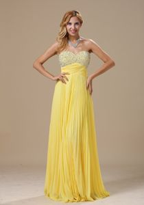 Pleated Yellow Beaded Miss Universe Pageant Dresses in Middletown