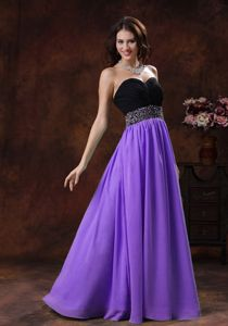 Ruched Beading Purple and Black Pageant Dresses in Boynton Beach