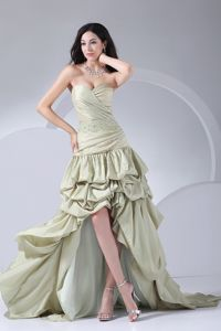 Pick-ups Beading Green High-low Brand Pageant Dresses for Girls