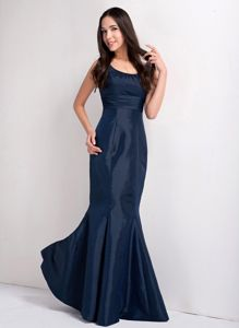 Mermaid Scoop Taffeta Navy Blue Pageant Dresses in Saint Augustine