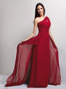 Ruched Wine Red One Shoulder Pageant Dresses in Palm Beach Gardens