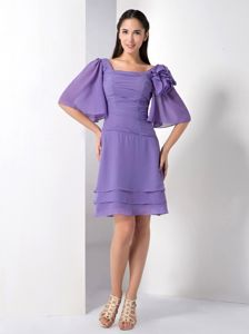Butterfly Sleeves Square Purple Pageant Dresses Patterns in Stuart