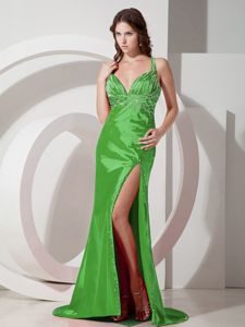 Green Straps Beading High Slit IL Pageant Dresses for Miss World