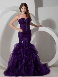 Mermaid Beaded Organza Court Train Dark Purple Pageant Dress 2014