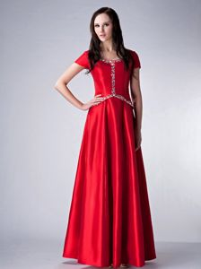 Scoop Red Beading Satin Pageant Dress with Short Sleeves in Macon