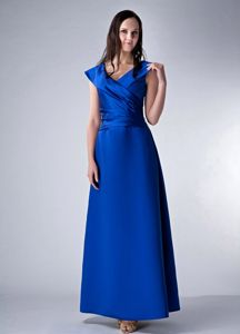 V-neck Satin Ruching Royal Blue Natural Beauty Pageants Dresses
