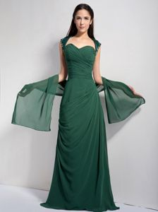 Brush Train Dark Green Ruched Glitz Pageant Dresses in Alpharetta