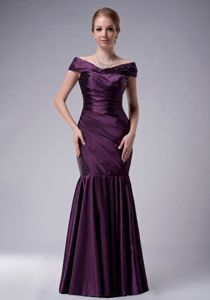 Off The Shoulder Mermaid Purple Ruched Colora Prom Pageant Dresses