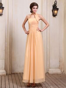 Halter Chiffon Ruched Gold Lahaina Miss Mississippi Pageant Dress