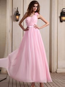 Flower One Shoulder Baby Pink Pageant Dresses for Miss America
