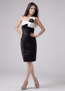 Ruched Black Flower One Shoulder Pageant Dresses for Miss World