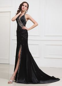 V-neck Beaded Sweep Train Black Monroe Pageant Dress with High Slit