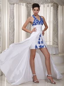 Halter Appliques White Taffeta Gardena Miss Universe Pageant Dress