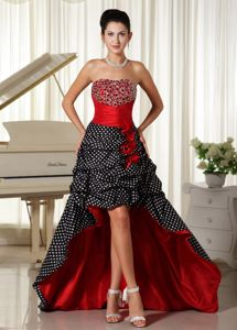 Beaded Polka Dot High-low Ruched Colored Youth Pageant Dresses
