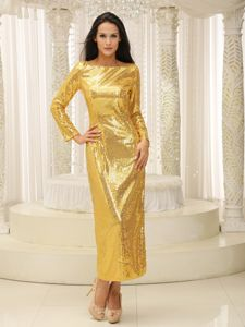 Paillette Gold Bateau Pageant Dresses for Girls with Long Sleeves
