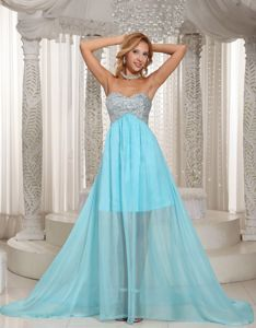 Aqua Blue Chiffon Beaded Pageant Dress with Brush Train in Irvine