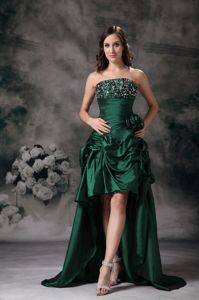 Green High-low Beading Flowers Pageant Dresses in Fountain Valley