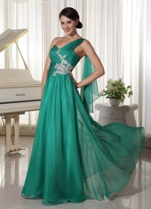 One Shoulder Appliques Ruched Turquoise Gilroy Pageant Girl Dress