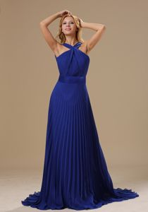 Pleated V-neck Brush Train Royal Blue Pageant Dresses in Alhambra