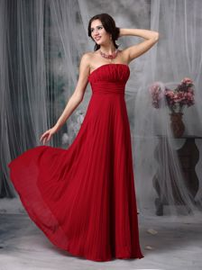 Pleating Ruched Chiffon Wine Red Prom Pageant Dresses in Campbell