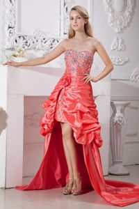 High-low Flowers Beading Watermelon Red Pageant Dresses in Florida