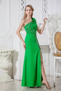 Hand Made Flowers One Shoulder Beaded Slit Green Pageant DressES