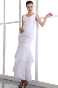 Layered Appliques V-neck White Dresses for Pageants in Indianapolis