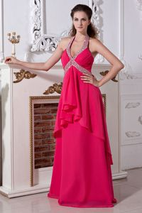 Halter Beading Chiffon Hot Pink San Jacinto Pageant Girl Dresses