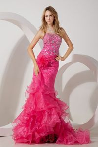 Mermaid Hot Pink Beaded Ruffles Pageant Dresses for Miss America