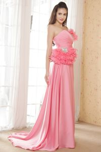 Sweetheart Prom Pageant Dress with Ruffles and Beading in Pink