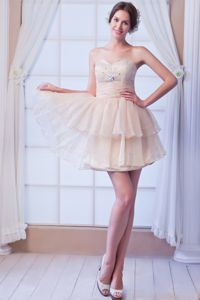 Champagne A-line Sweetheart Pageant Dress Beading Mini-length