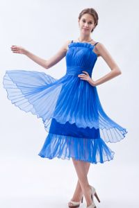 Blue Ruffled Straps Pageant Girl Dresses Tea-length with Layers