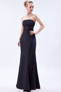 Column Strapless Interview Pageant Suits Ankle-length in Black