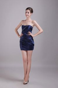 Navy Blue Strapless Beading Short Pageant Dresses for Miss USA