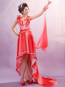 Floral Straps Beading High-low Ombre Colored Beauty Pageant Dresses