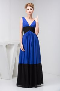 Floor-length V-neck Royal Blue and Black Youth Pageant Dresses