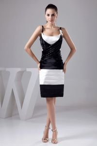 Straps Miss Universe Pageant Dress in Black and White with Beading