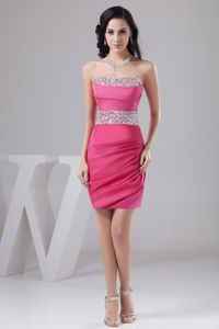 Ruching Rose Pink Strapless Youth Pageant Dresses with Beading Belt