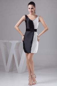 V-neck Black and White Pageant Dress with Sash and Beading