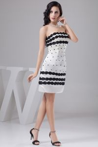 Column White and Black Miss Universe Pageant Dress Mini-length