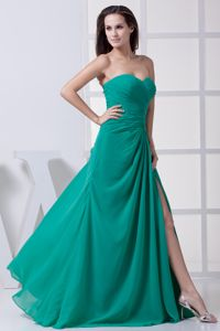 High Slit Sweetheart Ruching Interview Pageant Suits in Green
