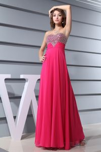 Sweetheart Beading Long Beauty Pageant Dresses in Hot Pink