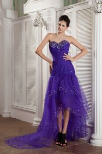 Beading Youth Pageant Dresses in Purple Mermaid Sweetheart High-low