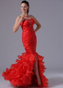 Red Mermaid Youth Pageant Dresses with Beading Ruffled Layers