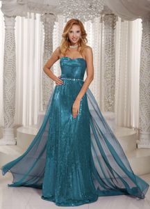 Turquoise Paillette Sweetheart Pageant Dresses with Beading Belt