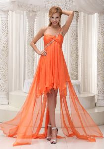 Beaded One Shoulder Miss Universe Pageant Dress in Orange High-low