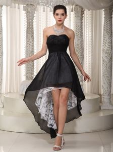 Empire Lace High-low Sweetheart Black Beauty Pageant Dresses