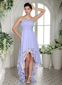 Lilac Sweetheart Beaded Belt High-low Pageant Dresses for Girls