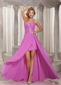 High-low Prom Pageant Dress Lavender Sweetheart with Appliques